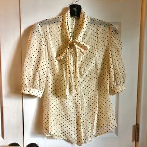 Vintage polka dot blouse with pussy bow